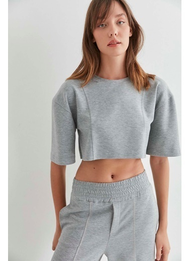 Vitrin VİTRİN Fermuar Detaylı Crop Bluz Gri